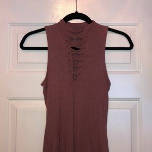 Charlotte Russe High Neck Lace Down Body Suit S